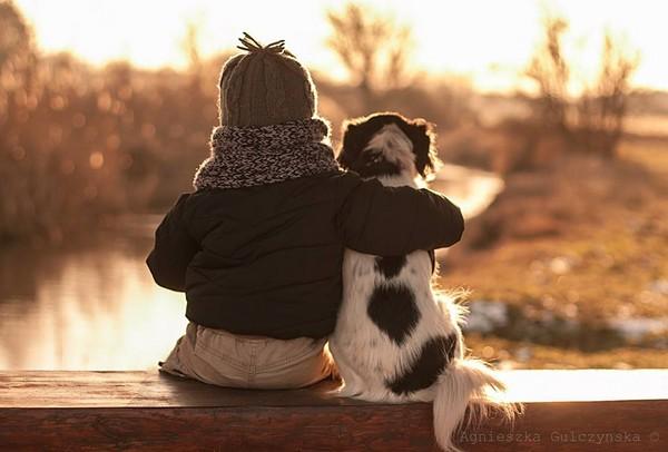 孩子天真的笑容,狗儿与小男孩之间不言而喻的深刻友谊,都是此系列作品