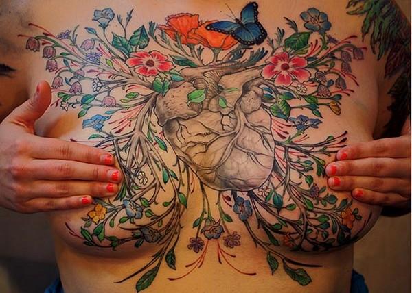 ink聚集一群富有热情的刺青师傅,专为做过乳房切除手术的女人进行胸部图片