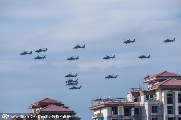 6月12日,摄影师在北京上空拍到了大量直升飞机,从正下方看能看到