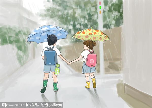 小男孩不舍最要好的女同学转到上海读书.(图/cfp)