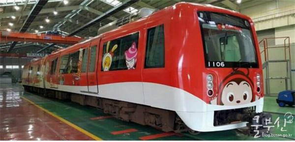 超吸睛!韩国釜山可爱卡通主题列车上路了