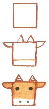 牛简单画画步骤