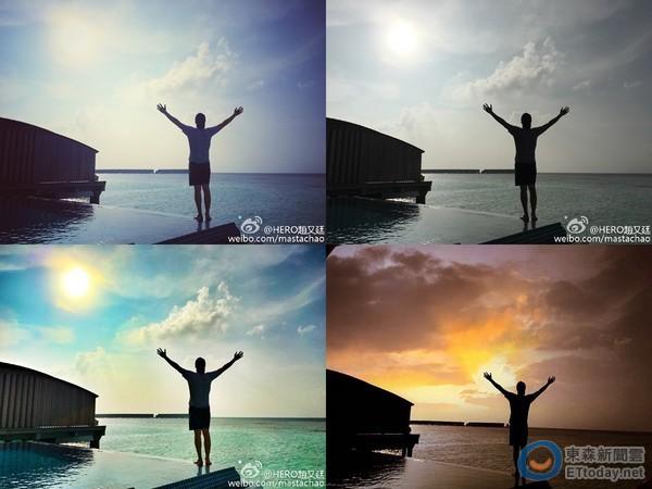 赵又廷在阳光下高举双手,面对大海,彷佛像行光合作用.
