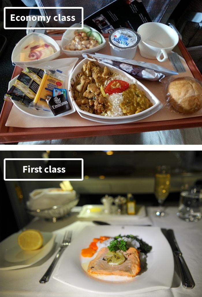 头等舱vs经济舱飞机餐