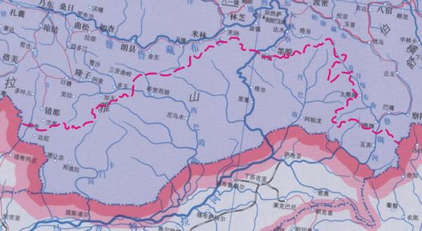 《中国地图》藏南地区地名几乎一片空白.(图/翻摄自中国西藏网)
