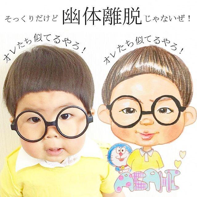 1岁8个月的 朝阳底迪(asahi),有著一副招牌圆框眼镜还有圆嘟嘟的可爱