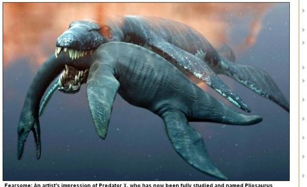 它是一只巨大的,有著硕大头颅的海洋爬行类动物.