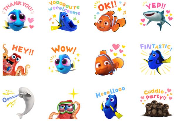 《海底总动员2》line贴图!多莉,尼莫与配角萌萌登场