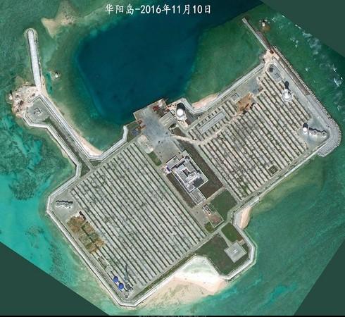 中国为维护南海主权除了多项军事建设外,同时也在岛礁上进行绿化工程.