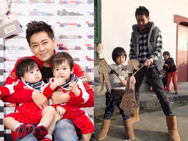 「不老男神」林志颖2010年和陈若仪结婚,,育有1子kimi和双胞胎儿子图片