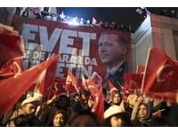 土耳其修憲擴權公投,總統艾爾段宣布勝出,支持者歡呼慶祝。(圖/路透社)