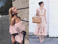 春夏粉色穿搭。(圖/翻攝自Instagram)