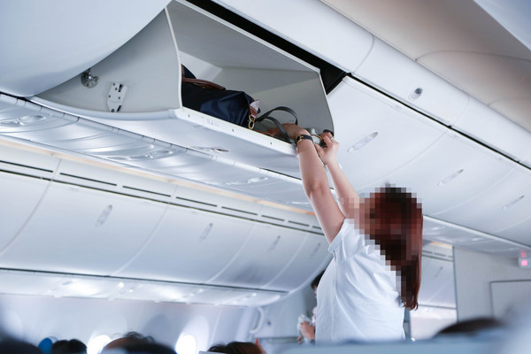 獨佔飛機座位上方的置物櫃,飛機置物櫃,公德心(圖/記者林世文攝)