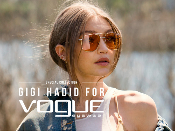 Gigi Hadid與vogue eyewear聯名(圖/翻攝自vogue-eyewear官網)