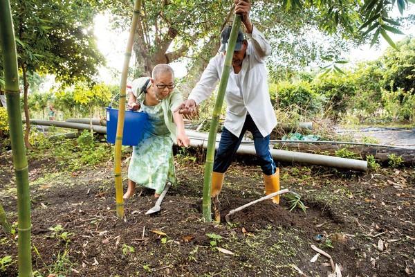 大清早,我們跟著莊月嬌(左)去找農夫掘竹筍,她看見筍尖竄出,又驚又喜直誇美,還不斷比手劃腳,十足少女心。