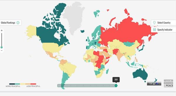 ▲「2017全球和平指數」互動地圖。(圖/翻攝自visionofhumanity)