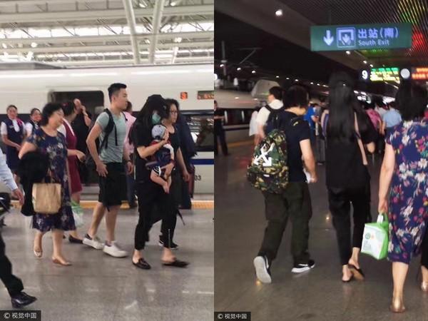 ▲Angelababy搭高鐵回上海,全程抱著小海綿。(圖/CFP)