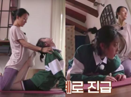▲▼李孝利壓身上幫「90度直角彎曲」 IU:我好像快死了(圖/翻攝自JTBC Entertainment Youtube)