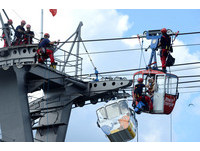 ▲▼德國科隆萊茵河上方空中纜車,30日發生停擺意外,約100名乘客受困。(圖/路透社)