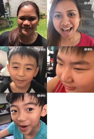 ▲張柏芝拍攝全家人祝福謝霆鋒、王菲。(圖/翻攝自《新浪娛樂》微博)