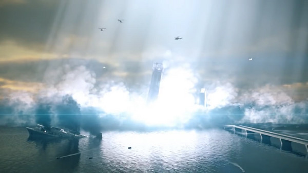 為徹底消滅生物兵器,讓整座人造島毀於一旦的「浮島恐慌事件」。(圖片來源:官方預告片截圖)