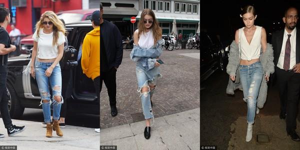 ▲Gigi Hadid、Bella Hadid破褲穿搭。(圖/CFP、Instagram)