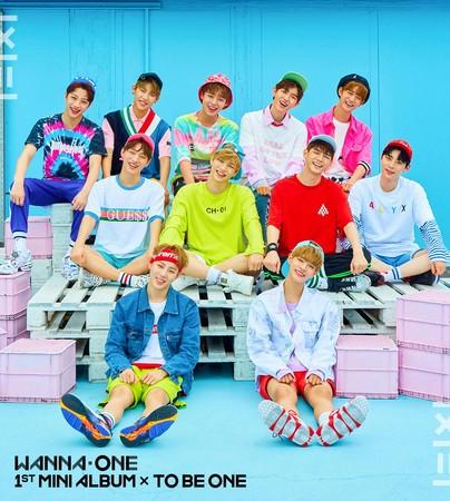 Wanna One首張迷你專輯《1X1=1(TO BE ONE)》光預購2天就破50萬張。(華納唱片提供)