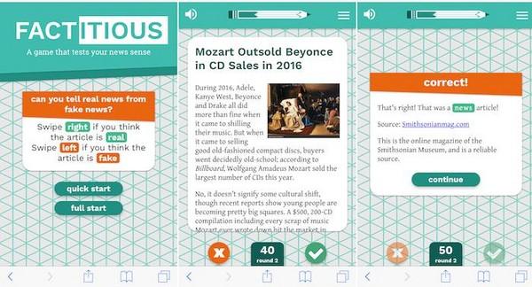 美利堅大學遊戲實驗室開發的Factitious,遊戲者可點擊瞭解更多關於題目的相關新聞訊息。
