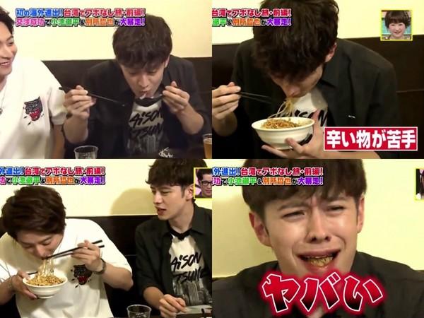 ▲兩人吃完小籠包吃超辣乾麵,瑛士一吃辣到傻了。(圖/翻攝自NTV節目、推特)