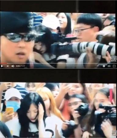 ▲太妍被攝影機打到頭。(圖/翻攝自K-PopCulture News youtube)