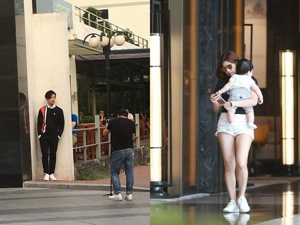 ▲陳曉在戶外拍照,陳妍希抱兒子在飯店內。(圖/翻攝自陸網《新浪娛樂》)
