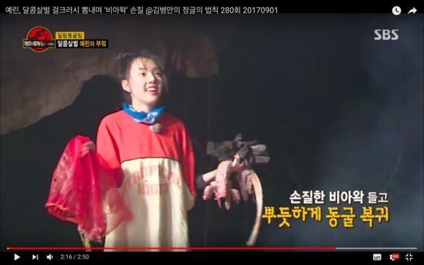 ▲▼慎入!GFRIEND睿隣徒手剝皮巨大蜥蜴(圖/翻攝自SBS Entertainment Youtube)