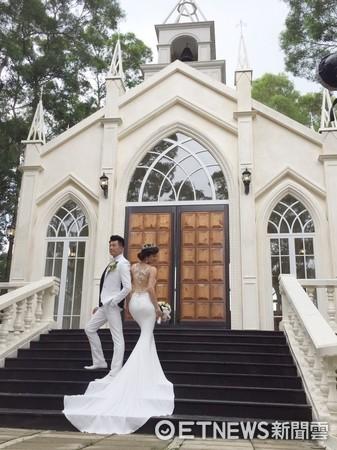 ▲文汶和吳皓昇拍婚紗。(圖/記者林思妤攝)