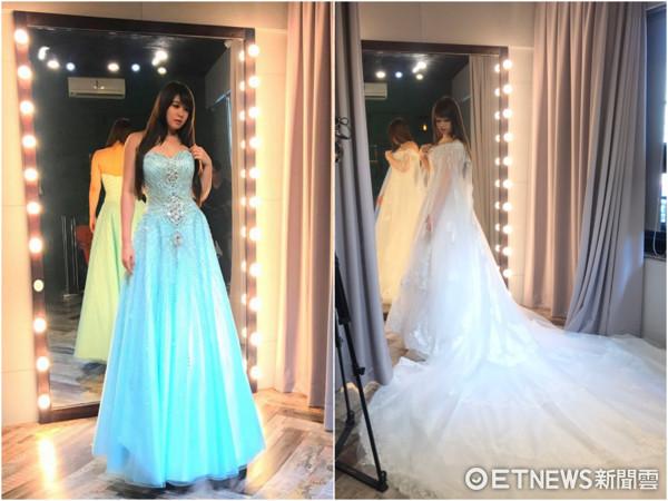 ▲小小瑜試穿婚紗。(圖/wedding21提供)