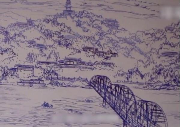 甘肃老师44分钟画完白板风景画:希望学生热爱「家乡」
