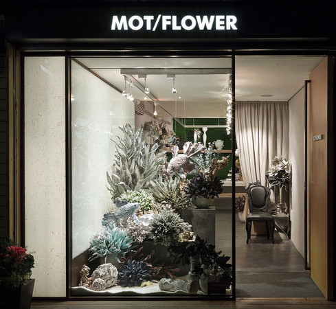 mot概念花店玩橱窗 花艺打造海底世界