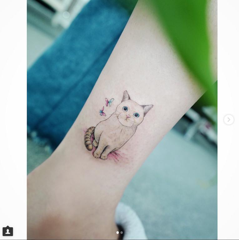 手绘樱桃纹身简单