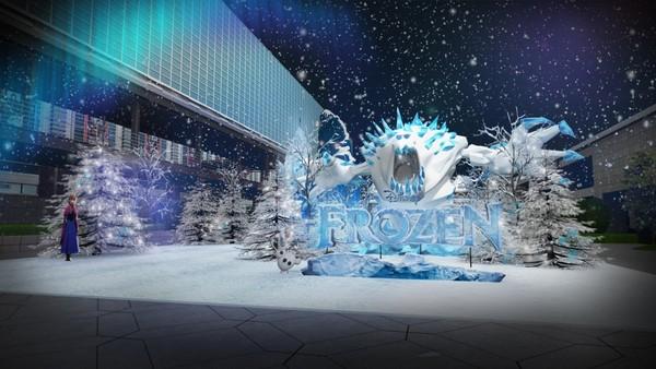 etfashion 生活  「冰雪奇缘嘉年华」场地共800坪,设置有5米高雪怪