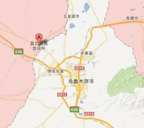 昌吉市距离乌鲁木齐市约30公里.(图/翻摄google地图)