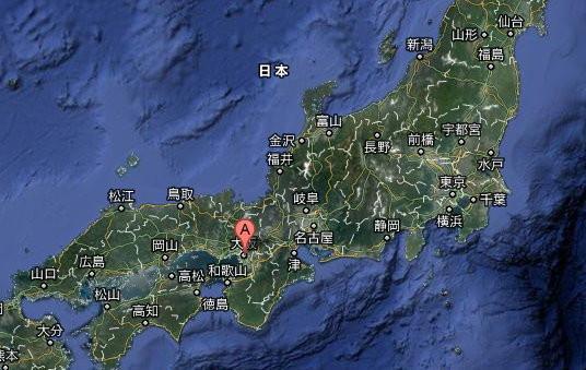 日本地图,大阪在东京的西南方.(图/取自google地图)