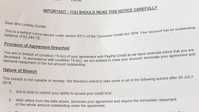 喪妻還被嘲諷…Paypal誤寄警告信稱「您的死亡已違約」 催繳13萬欠款