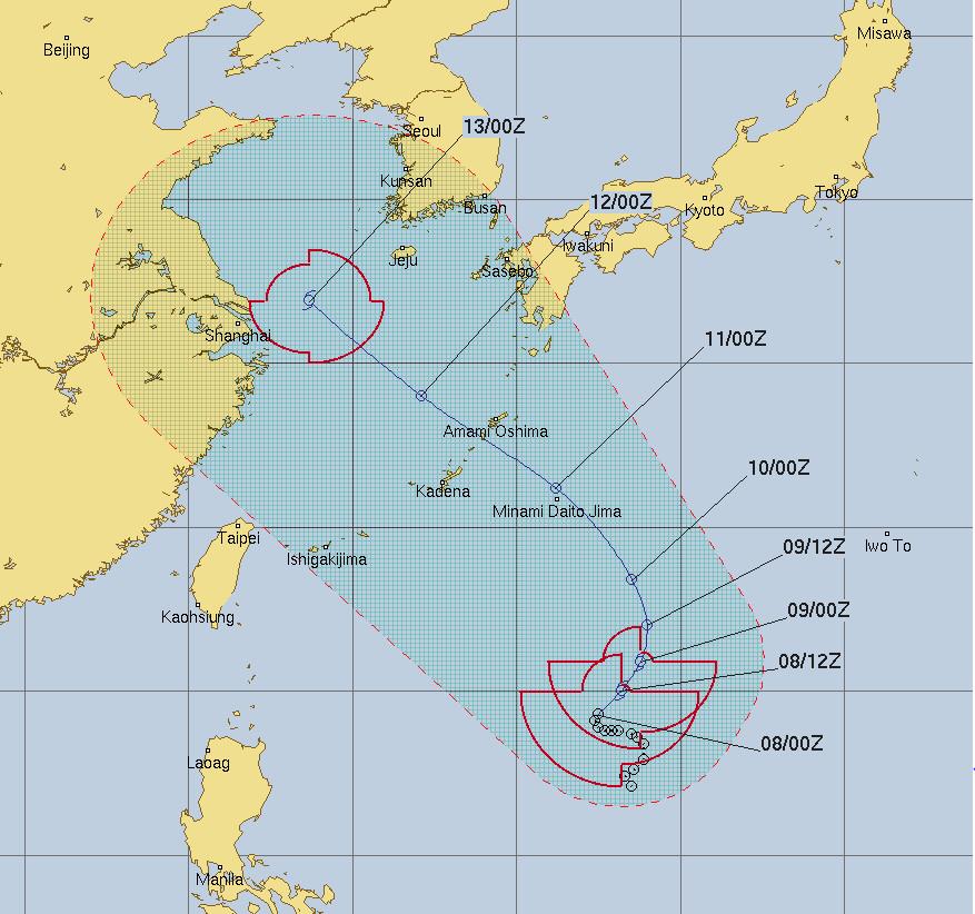 ▲摩羯台风预测路径.(图/联合台风警报中心(美军))-摩羯台风 营