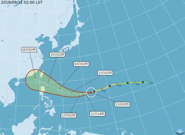 山竹 巨大暴风圈 甩尾 13日关键一弯恐成可怕强台 周末全台风雨