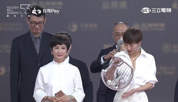 ▲2018第53届电视金钟奖星光大道潘奕如(右).(图/翻摄自