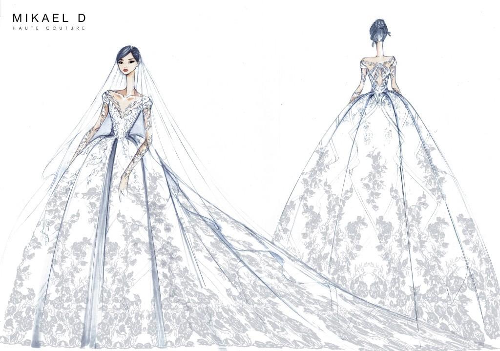 唐嫣在婚纱中融入许多自己的喜好,包含玫瑰,公主等.