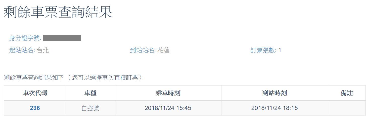 ▲ 選舉 台 鐵 订票 狀況. (圖 / 翻 攝 自 台 鐵 訂票 網頁)