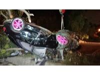 ▲▼彰化彰?#19979;?段7日晚間發生自小客車自撞分隔島,造成車內1男1女死亡。(圖/翻攝自Facebook/芬園之光)