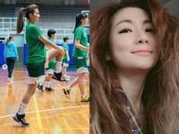 ▲Selina重?#30340;?#26657;北一女和學妹打籃球。(圖/翻攝?#35377;elina的Instagram)
