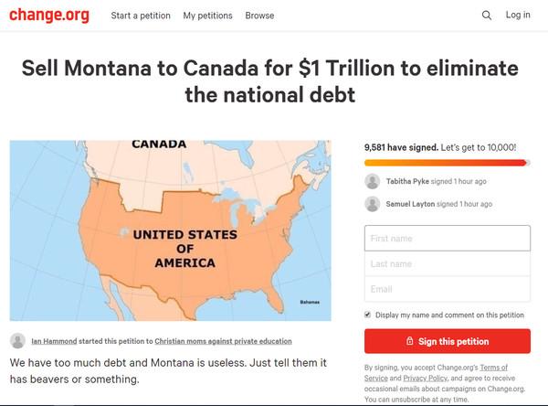 ▲美國民眾在請願網站上發請「賣掉蒙大拿」的連署。(圖/截自連署網站change.org)