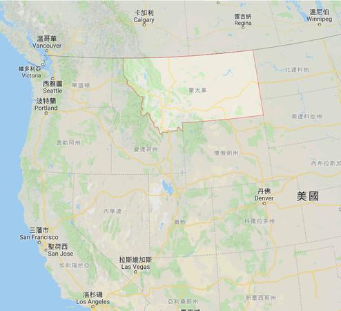 ▲蒙大拿州位在美國西北部,與加拿大接壤。(圖/翻攝自Google地圖)